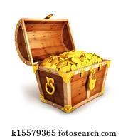 3d golden treasure chest
