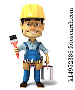 3d handyman with paint can