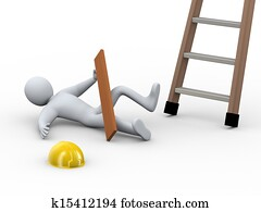 3d injured man - ladder accident