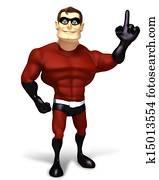 3d render Super hero direcion poses