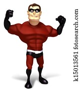 3d render Super hero strong poses