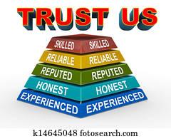 3d trust us concept pyramid