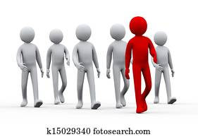 3d unique successful man - leadership concept