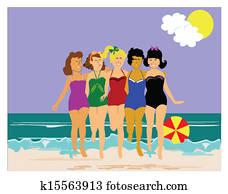 5 ladies on the beach