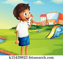 A boy at the school playground