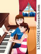 A girl learning to play a piano