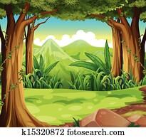 a, grüner wald, über, dass, hohe berge