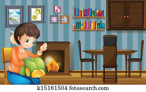 A mother sewing near the fireplace