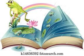 a, storybook, mit, a, frosch, und, fische, an, dass, teich