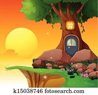 A tree house near the cliff