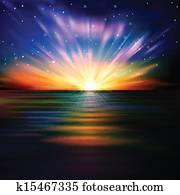 abstrakt, hintergrund, mit, meer, sonnenaufgang, und, sternen
