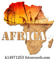 Africa Map Wooden Illustration