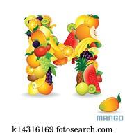 Alphabet From Fruit. Letter M