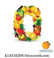 Alphabet From Fruit. Letter O