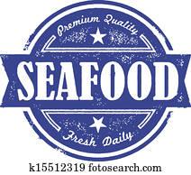 altmodisch, frische meeresfrüchte, etikett