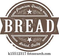 altmodisch, frisches gebacken, bread, etikett