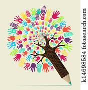 Clip Art Andersartigkeit Leute Begriff Bleistift Baum