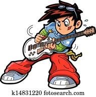 anime, manga, gitarre spieler