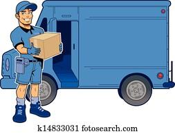 ausdrücklich, lieferbote, und, lastwagen