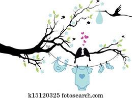 baby boy with birds on tree, vector