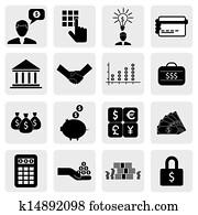bank, &, finanz, icons(signs), verwandt, to, money,, wealth-, vektor, graphic., dieser, abbildung, büchse, auch, darstellen, spareinlagen, account,, investments,, reichtum, creation,, bankwesen, business,, einsparung, money(cash),credit, karten