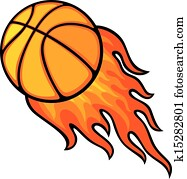 basketball ball, in, feuer