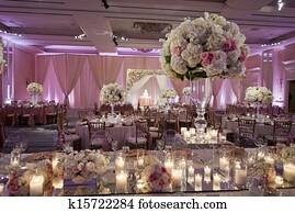 Beautifully decorated wedding ballroom