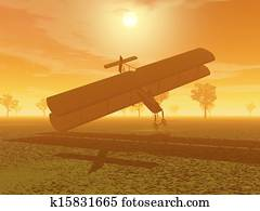 Biplane crash - 3D render