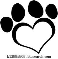 Black Love Paw Print