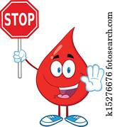 Blood Drop Holding A Stop Sign