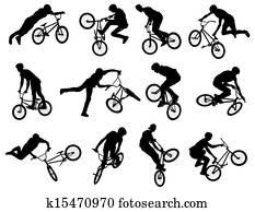 BMX stunt cyclist silhouettes
