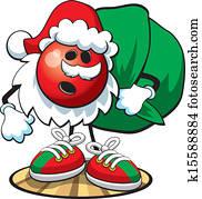 Bowling ball character- Christmas