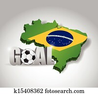 brazil soccer and goal 3d text sign. football