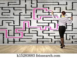Businesswoman solving maze problem Drawing | k15394853 | Fotosearch