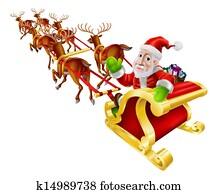 Cartoon Christmas Santa Claus Sled