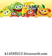Cartoon Fruit and Berries with White Background