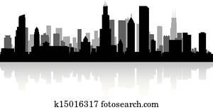 Chicago city skyline silhouette