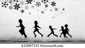 Children Playing below snow