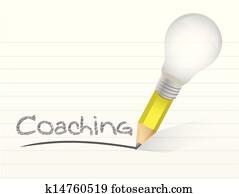 Coaching handwritten with lightbulb pencil