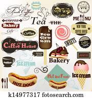 Collection of vintage labels and badges coffee, bakery, hot dogs