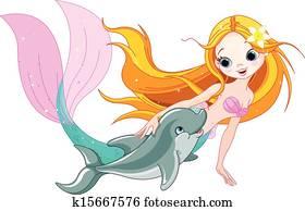 Cute Mermaid and dolphin