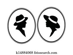 dame, und, Genleman-gender, schwarz, symbol