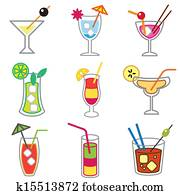 different cocktails icons set
