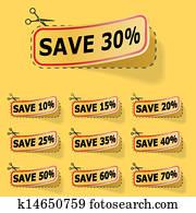 Discount yellow vector labels.