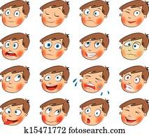 emotions., karikatur, gesichtsbehandlung, satz