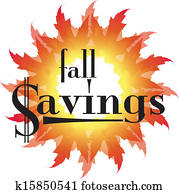 Fall Savings text in an autumn leaf