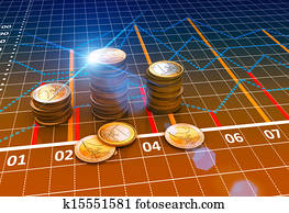 Financial business charts and coins