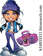 Funky Girl With Boombox