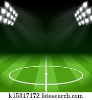 fussball, hintergrund, mit, hell, punkt- lichter