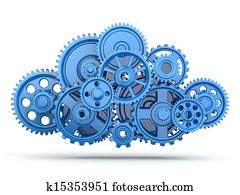 Gears. Cloud computing.